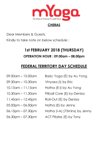 Cheras Federal Territory Day Schedule